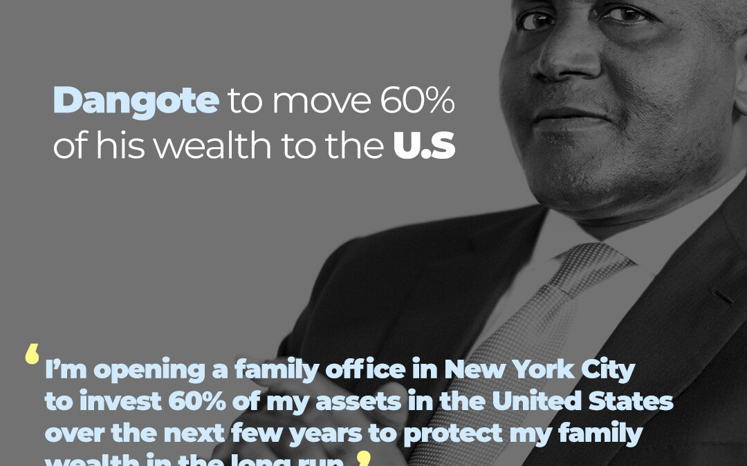DANGOTE TO MOVE 60% OF HIS WEALTH TO US