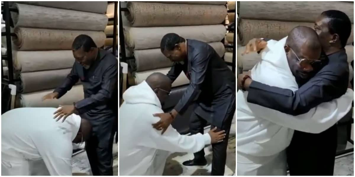 Don Jazzy Star Struck, Prostrates to Greet Kanayo O. Kanayo As He Meets Legendary Actor for the First Time.