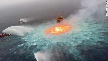 Gulf of Mexico on Fire Due to Leaking Gas