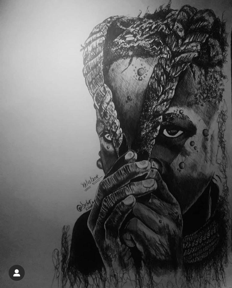 A pencil drawing by Dave Chuka