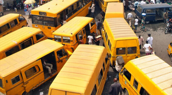 Heavy Traffic with Yellow Buses