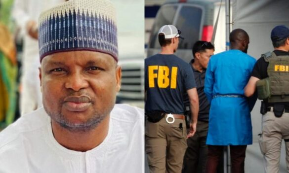 Abba Kyari in chains escorted by FBI agents