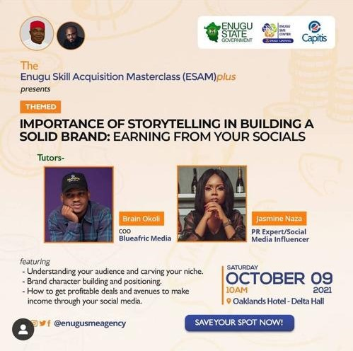 Christian Okoli, Jazmine Naza To Teach Brand Storytelling At Esam Master Class Enugu